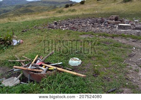 Beware, Could Be A Disturbing Picture. It's The Sky Burial Of Tibetan Culture. A Funeral Practice To
