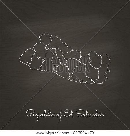 Republic Of El Salvador Region Map: Hand Drawn With White Chalk On School Blackboard Texture. Detail