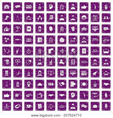 100 coherence icons set in grunge style purple color isolated on white background vector illustration