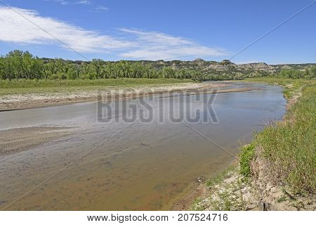Shallow Bend in a Badlands River in Theodore Roosevelt National Park in North Dakota