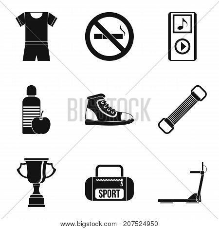 Music for training icons set. Simple set of 9 music for training vector icons for web isolated on white background