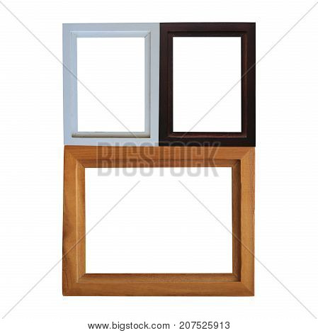 modern wooden frame isolated on white background.