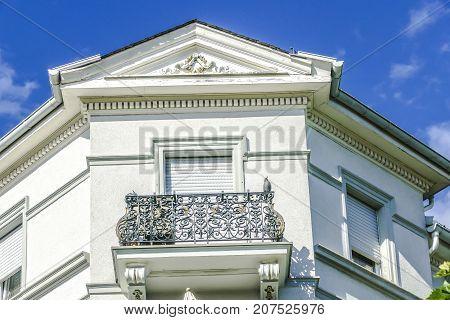 BAD NAUHEIM Germany August 2017: Detail of historic Art Nouveau style Villa in Bad Nauheim Hessen
