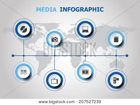 Infographic design with media icons, stock vector