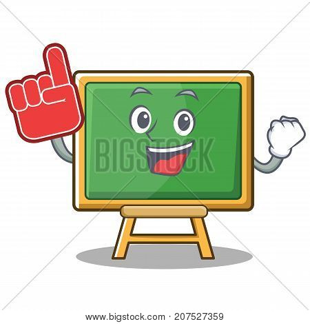 Foam finger chalk board character cartoon vector illustration