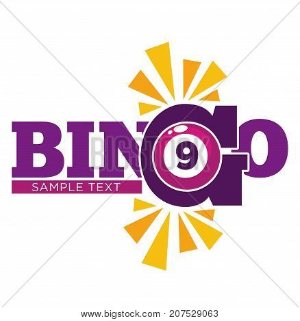 Bingo promotional emblem with purple numbered ball and sample text isolated cartoon flat vector illustration on white background. Simple game of luck with big money prize advertisement banner.