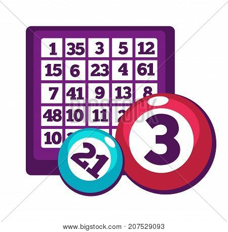 Board with table full of numbers and numberd shiny colorful balls for bingo game isolated cartoon flat vector illustration on white background. Simple equipment for game of chance to try luck.