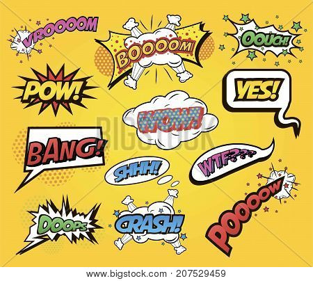 Speech bubbles Comics speech and exclamations with dialog words for different emotions and sound effects boom, yes, bang, wow. Pop art style. Vector illustration isolated on white