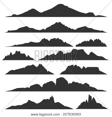 Mountain silhouettes overlook. Vector rocky hills terrain vector, mountains silhouette set isolated on white background for landscape design