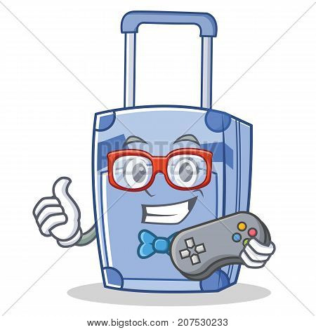 Gamer suitcase character cartoon style vector illustration poster