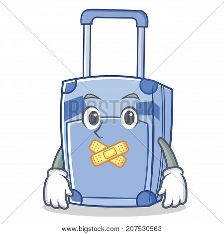 Silent suitcase character cartoon style vector illustration