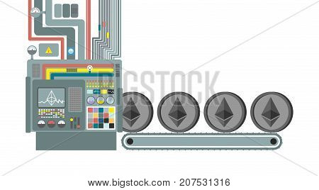 Mining Farm. Miner For Etherium. Technology Extraction Of Cryptocurrency. Industry Is Web Money. Vec