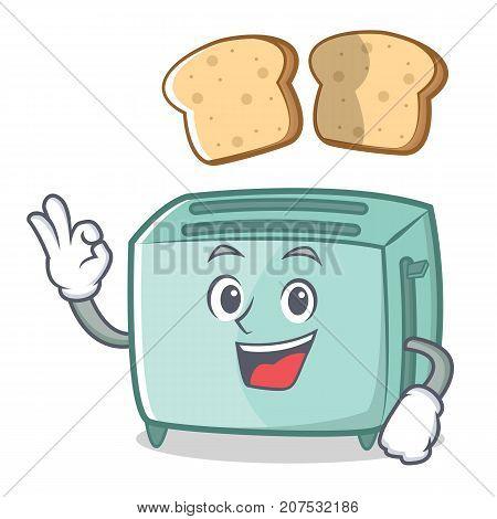 Okay toaster character cartoon style vector illustration