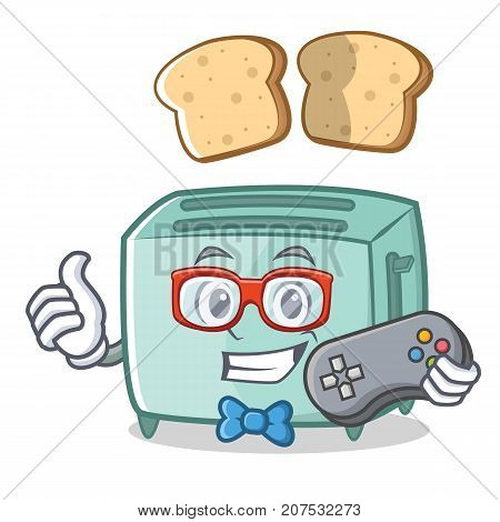 Gamer toaster character cartoon style vector illustration
