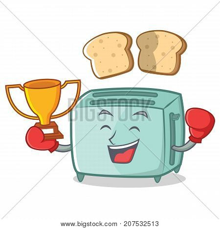 Boxing toaster character cartoon style vector illustration