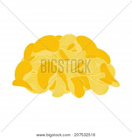 pile potato chips isolated. Fast food. fried potatoes vector illustration