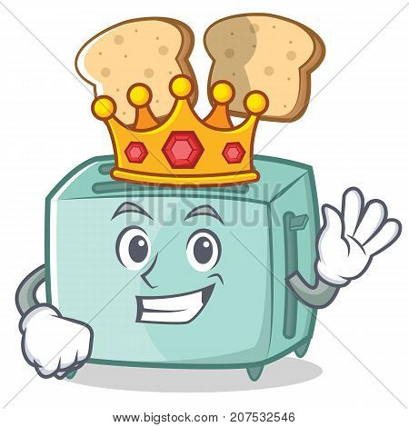 King toaster character cartoon style vector illustration