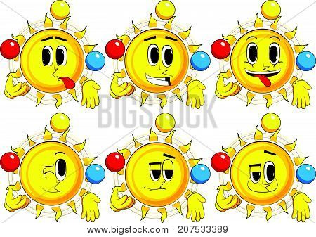 Cartoon sun juggler. Collection with happy faces. Expressions vector set.