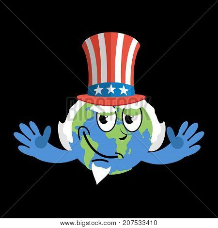 Earth In Hat Uncle Sam. Geographic Usa. Political Vector Illustration