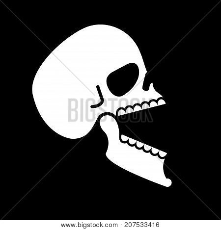 Skull Open Mouth Isolated. Head Of Skeleton Open Lower Jaw. Vector Illustration