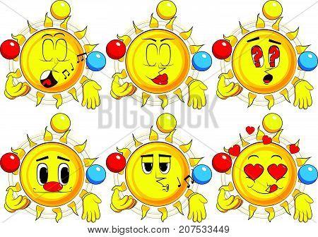 Cartoon sun juggler. Collection with various facial expressions. Vector set.