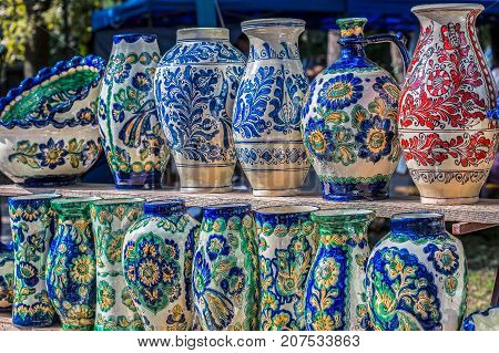 Romanian traditional ceramic in the vases form painted with specific patterns for Corund Transylvania area.