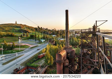 View On Old Blast Furnace On Mining And Metallurgical Plant In Nizhny Tagil. Russia