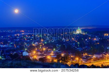 View On Nizhny Tagil With Alexander Nevsky Church At Night. Russia
