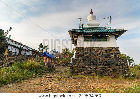 Stupa In Shad Tchup Ling Buddhist Monastery On Mountain Kachkanar. Russia
