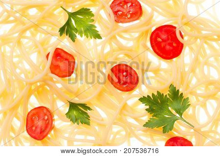 Spaghetti and tomato cooked suspended in the air pasta in backlight background