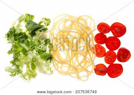 Italian restaurant food with flag colors. Pasta lettuce and tomato. Mediterranean diet concept