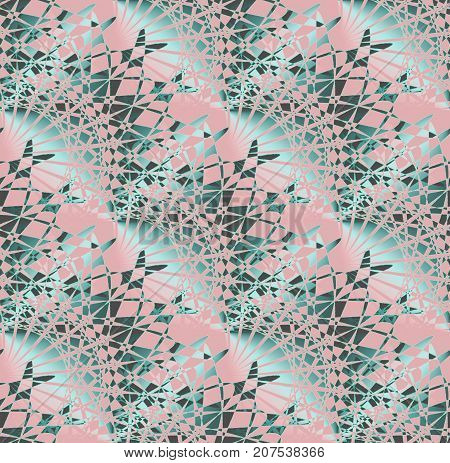 Abstract geometric background. Regular intricate fan-shaped pattern pink, aquamarine, turquoise and dark brown diagonally.