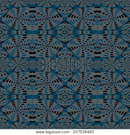 Abstract geometric seamless background. Regular intricate pattern blue gray, beige and brown, ornate and extensive.