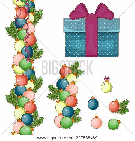 Set of elements for Christmas and new year. Big blue gift box. Christmas balls of different colors. Isolated white background. Stock vector.