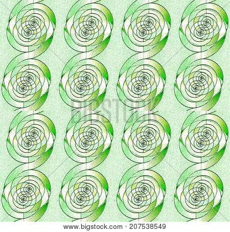 Abstract geometric seamless background. Regular spirals pattern in light green shades, beige and white with dark outlines vertically.