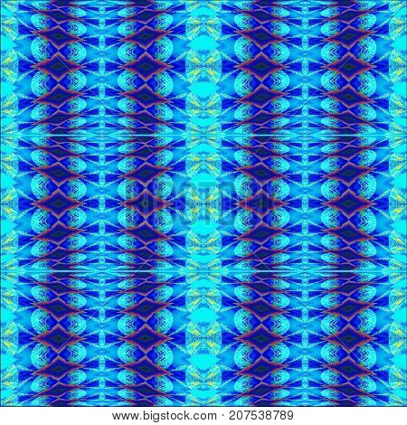 Abstract geometric seamless background. Regular diamond pattern blue, turquoise and red vertically.