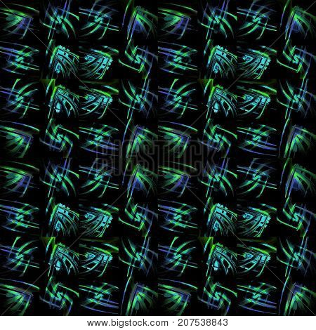 Abstract geometric dark background. Regular pattern green, turquoise and purple, in squares shifted, on black.