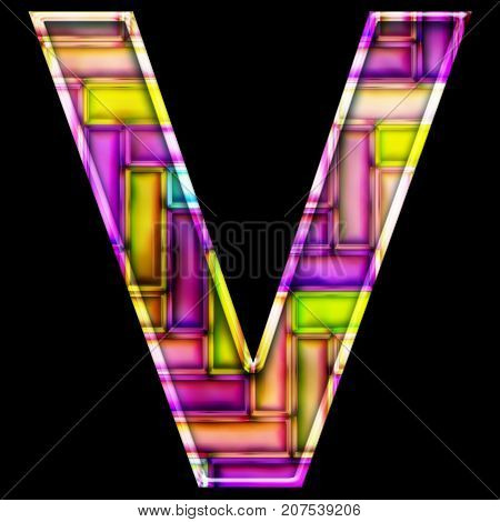 3D render of neon bricks pattern alphabet capital letter V