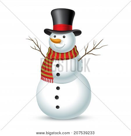 Christmas snowman isolated on white background. Vector illustration