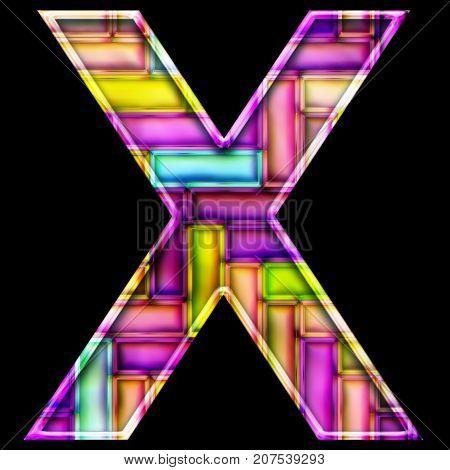 3D render of neon bricks pattern alphabet capital letter X