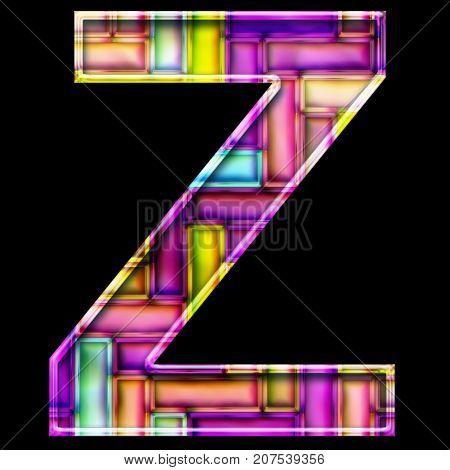 3D render of neon bricks pattern alphabet capital letter Z