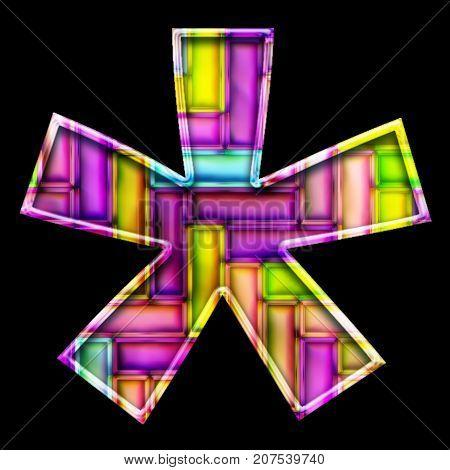 3D render of neon bricks pattern star symbol