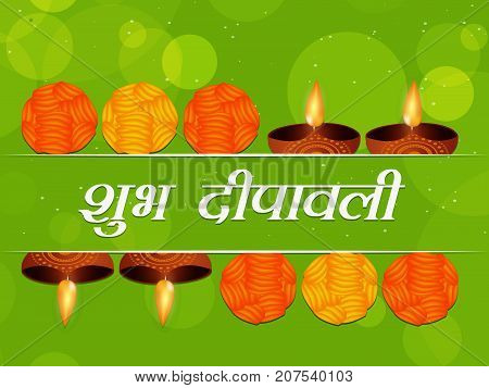 illustration of lamps and sweets with Shubh Deepawali text in hindi language meaning Happy Diwali on the occasion of hindu festival Diwali