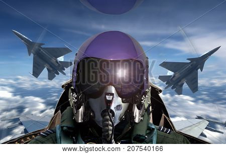 Fighter pilot cockpit view during sunrise with sun glare