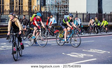 Cyclists In London, Hdr