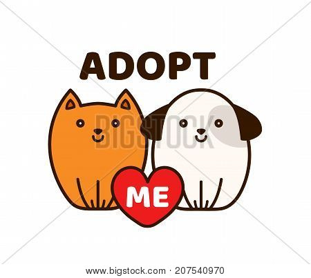 Vector flat cartoon illustration icon design.Adopt me. Dont buy. Dog Cat Pet adoption. Puppy pooch kitty cat looking up to red heart.Help homeless animal concept. Isolated on white background