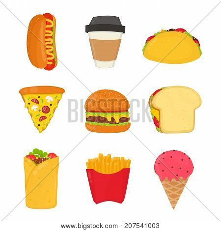 Fast food set. French fries, hot dog, ice cream, drink, sandwich, pizza, burger, burrito, coffee,taco, Vector flat cartoon illustration icon design. Isolated on white background