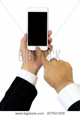 Left hand of business man wearing suit holding smartphone with blank screen. Right hand touching on button. Isolated on white background.