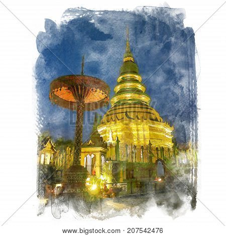 The golden pagoda on blue sky background Wat Prathat Haripunchai Lumphun Thailand (public place). Watercolor painting (retouch). poster