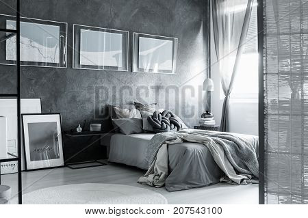 Grey Dark Bedroom With Screen